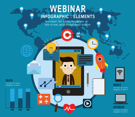 webinar: elearning Set of webinar icons .online learning professional lectures in internet. Isolated on backgroundFlat design vector illustration concept.