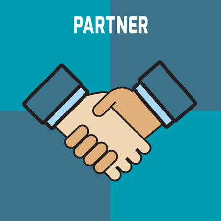 business partners: Two business partners deal and  doing handshaking.modern design flat icon. isolated on  blue background.graphic vector illustration.agreed  concept. Illustration
