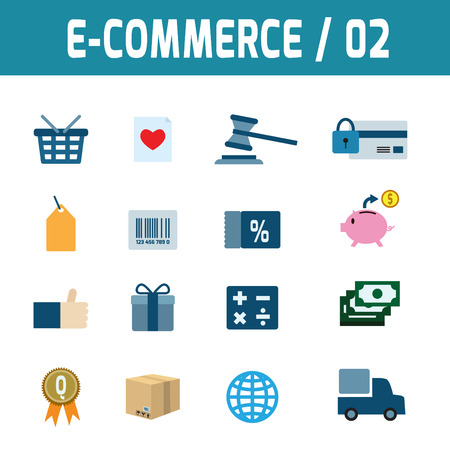 ordering: Set icons of ecommerce.elements.modern design flat icons. isolated on white background.graphic vector illustration.ecommerce business concept. Illustration