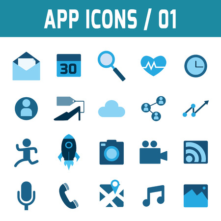 vdo: icons vector collection of blue flat application mobile.Design elements for mobile and web applications. Illustration