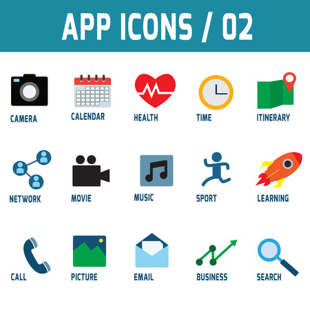 vdo: icons vector collection of colorful flat application mobile.Design elements for mobile and web applications.