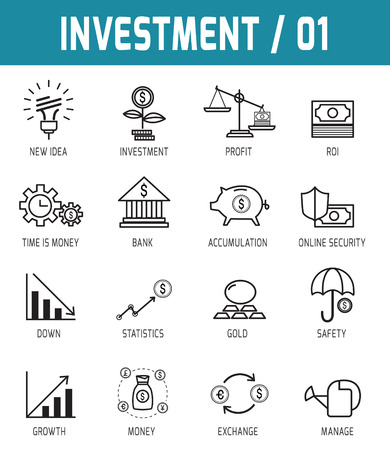 invest: Thin line icons vector collection of investment Design elements for online web applications publication.