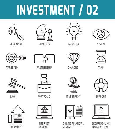 investigando: Línea fina iconos vector colección de elementos de diseño de inversión para la publicación en línea de aplicaciones web. Vectores