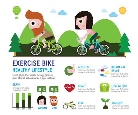 athlete cartoon: stylish modern flat character on bike. bicycle rider with beard. healthy infographic Concept Elements forflyer design for website magazineillustration  vector Illustration
