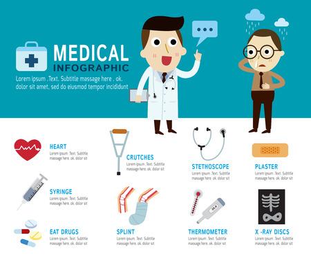 medico caricatura: médica Concept.infographic elements.modern ilustración icon.Vector plana.