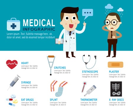 patient in hospital: medical Concept.infographic elements.modern flat icon.vector illustration.