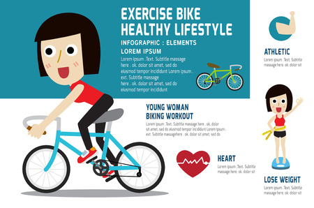 A young girl riding a bicycle to exercise.modern design flat icon for healthcare.isolated on white and blue background.graphic vector illustration.medical concept.