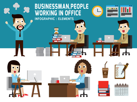 african woman at work: businessman and women working in office. presentation infographic elements. modern design flat icons. isolated on white background. graphic vector illustration. office business concept.