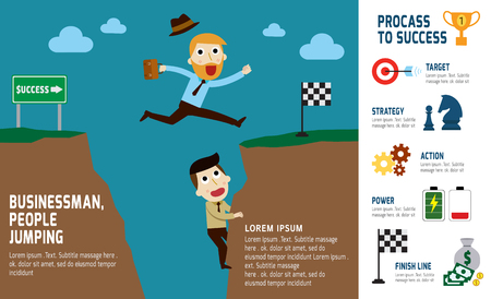 asian businessman: hipster businessman jumping over gap  the cliff.infographic elements.modern flat icon. vector illustration.success business concept.