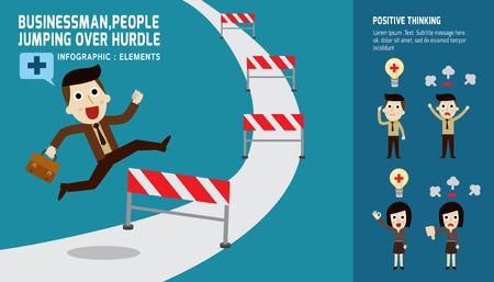 actitud positiva: hombre de negocios que salta sobre hurdlesof positividad pensando presentación. infográficas iconos planos de diseño elements.modern. aislado en blanco background.graphic concepto de negocio vector illustration.attitude.