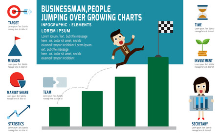 businessman jumping: businessman jumping over growth graph stock presentation infographic elements.modern design flat icons. isolated on white background.graphic vector illustration.investment business concept. Illustration
