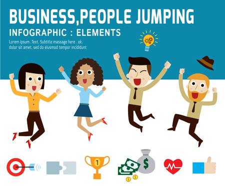 행복한 사람들 jumping.infographic elements.modern 평면 아이콘입니다. 벡터 비즈니스 개념을 illustration.teamwork.