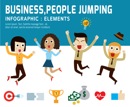 asian business people: happy people jumping.infographic elements.modern flat icon. vector illustration.teamwork business concept.