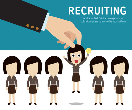 recruitment: recruitment.  Picking the right candidate professional . Isolated on backgroundFlat design vector illustration concept.