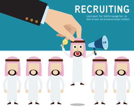 hr: recruitment. Picking the right candidate professional . Isolated on white and blue backgroundmodern design flat icons. isolated on white background.graphic vector illustration.recruiting business concept.