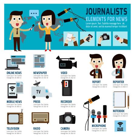 journalism: journalism concept.infographic elements.modern flat icon.vector illustration.
