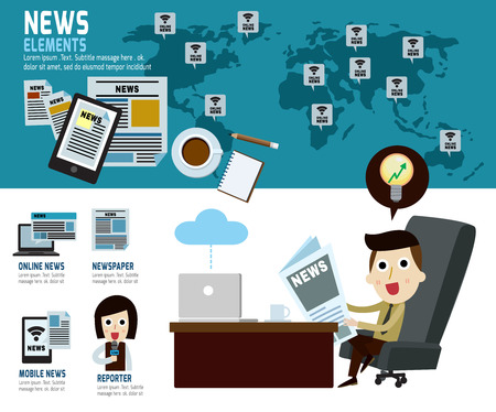 happy business man: news concept.infographic elements.modern flat icon.vector illustration. Illustration