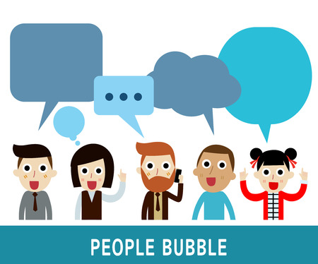 asian business meeting: people icons with  dialog speech bubbles.businessman character cartoon design.nationality Caucasian Africanchinahipster vector illustration.nationality arab Caucasian Africanchinahipster vector illustration. Illustration