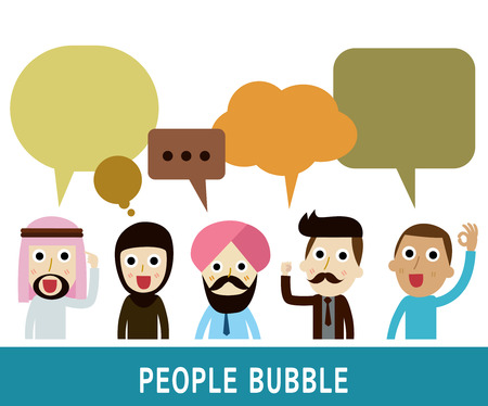 people icons with  dialog speech bubbles.businessman character cartoon design.nationality arab Caucasian Africanhipster vector illustration. 向量圖像