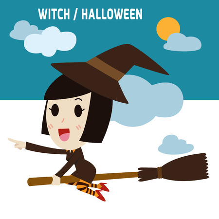 finger pointing up: Halloween Witch flying on broommodern design flat icon. isolated on white background.graphic vector illustration.Halloween holiday concept. Illustration
