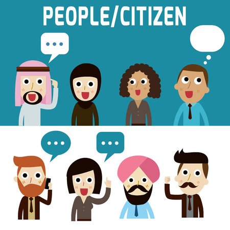 talking phone: peoplecitizenmodern design flat icon. isolated on white and blue background.graphic vector illustration.character concept. Illustration