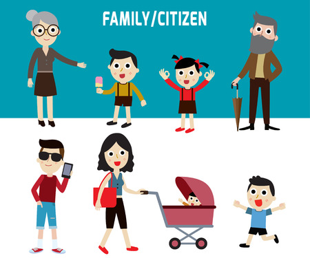 consumer society: happy family members.modern character flat design of grandparents and baby kidsisolated on blue and white background..graphic vector illustration. People concept.