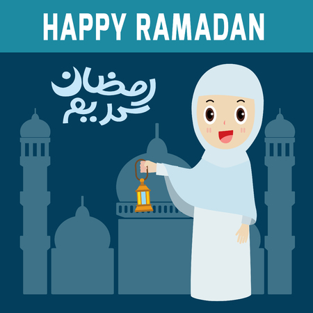 gcc: Happy Ramadan.woman people.modern design flat icon. isolated on blue background.graphic vector illustration.character concept.
