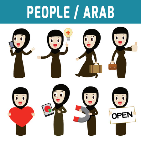 girl at phone: Set of arab woman people standing deportment various.modern design flat icon character elements.isolated on white background.graphic vector illustration.arab citizen concept. Illustration