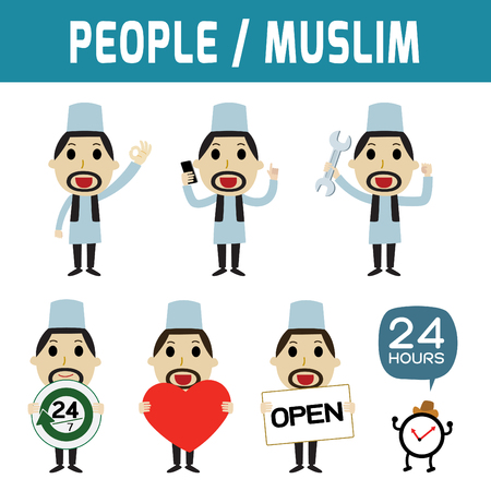 Set of middle east people standing and deportment various.modern design flat icon character elements.isolated on white background.graphic vector illustration.arab citizen concept.