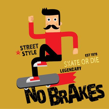 boy skater: Skate board sport cartoon typography tshirt graphics vectors