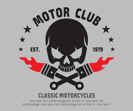 motor Skull Emblem design . vectorlogographicSticker label arm