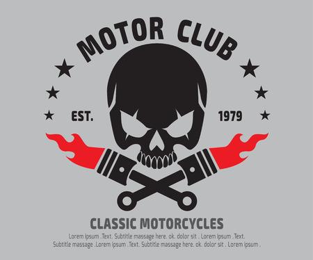 motor Skull Emblem design . vectorlogographicSticker label arm
