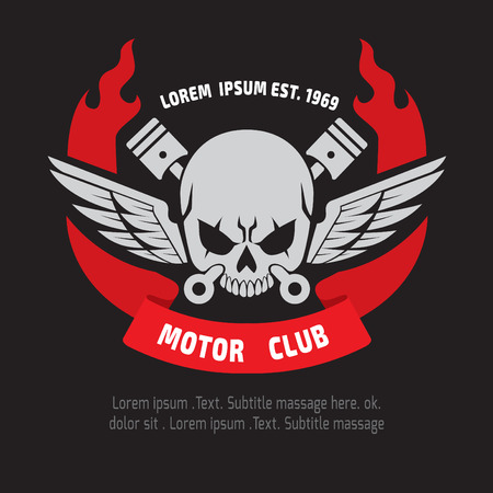 ruban noir: conception emblème crâne moteur. vectorlogographicSticker bras de l'étiquette