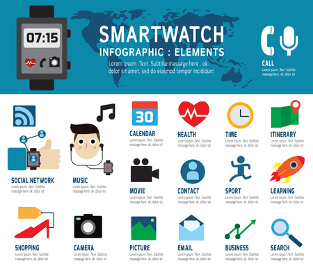 socially: Smartwatch infographic.smartwatch socially isolated on white and blue background.Flat icons design vector illustration concept.