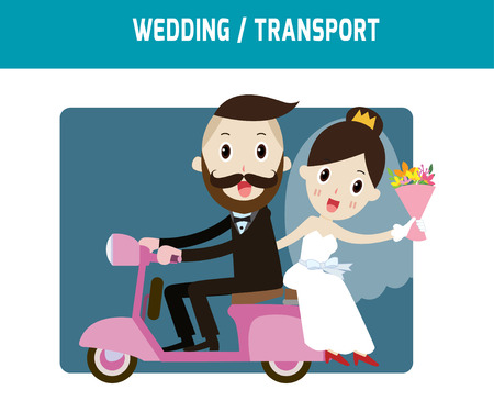 vespa: groom and bride character wedding invitation card templatemodern design flat icon for marriage.isolated on white and blue background.graphic vector illustration.married concept.