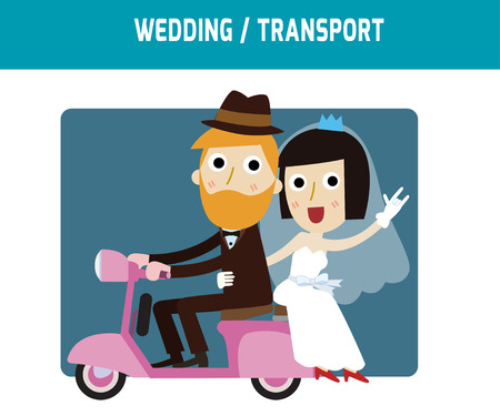 groom and bride: groom and bride character wedding invitation card templatemodern design flat icon for marriage.isolated on white and blue background.graphic vector illustration.married concept.
