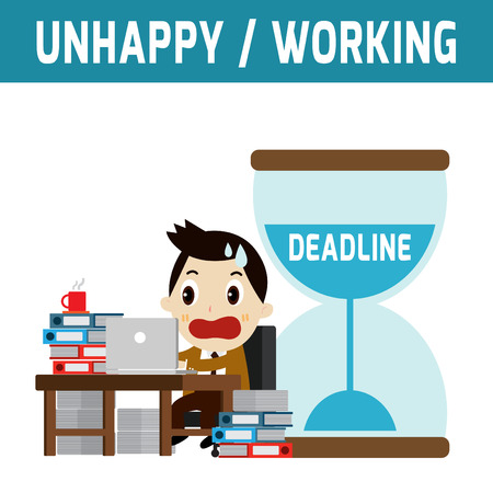 worried executive: unhappy businessman working job .deadline.modern design flat character isolated on white background.graphic vector illustration.business concept.