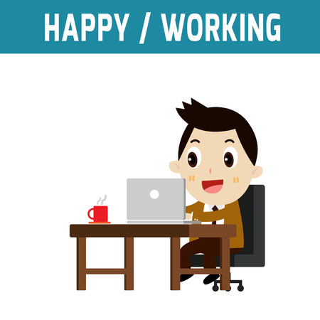 happy businessman: happy businessman working job in office.modern design flat character isolated on white background.graphic vector illustration.business concept.