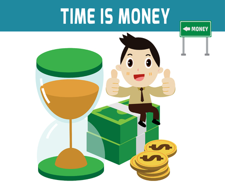 time is money. businessman sitting on the money dollar.modern design flat character isolated on white background.graphic vector illustration.business concept. Çizim