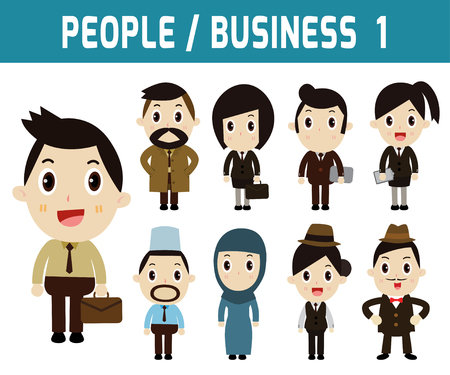 asian business woman: Businessman and woman. people character. graphic vector illustration. business concept. modern design flat character isolated on white background.