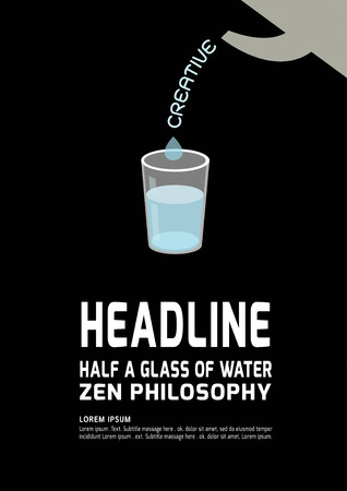 philosophy: Half or empty Glass of Water.Zen philosophy concept.presentationbrochureideacreativegraphic vector illustration.modern design flat  isolated on black background.