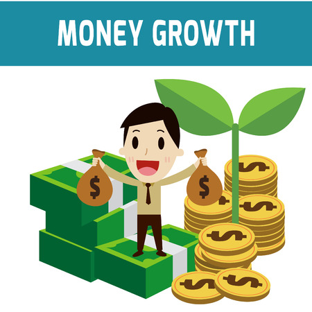 increases: growth money. businessman sitting on the money coins.modern design flat character isolated on white background.graphic vector illustration.business concept.