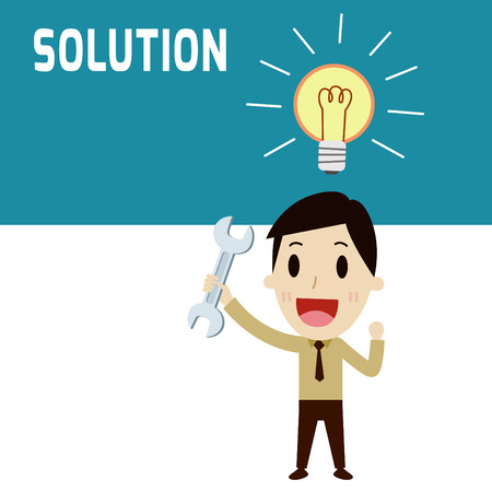 solution. Man happiness standing holding a wrench and thinking idea.Concept of businesslight bulb.solve.businessman or people character.Flat icon modern design style vector illustration concept.