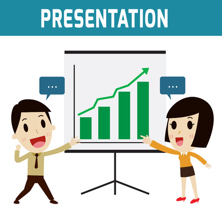 consultancy: presentation businessman and business woman or people standing and presentation profitability.Concept trainingFlat icon character modern design style vector illustration concept. Illustration