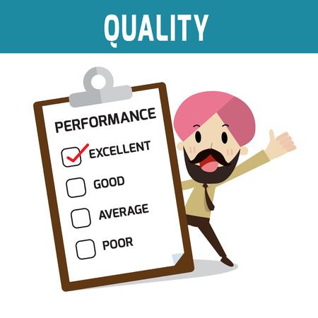 quality icon: performance. indian people standing and thumb up.Concept of quality,businessman or people character.Flat icon modern design style vector illustration concept.
