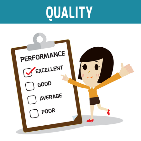 european people: performance.asian,european people standing and thumb up.Concept of quality,business woman or people cute character.Flat icon modern design style vector illustration concept. Illustration