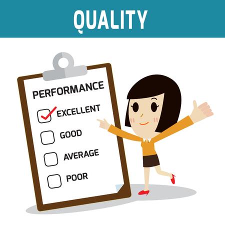 emprendimiento: performance.asian, la gente europeo de pie y el pulgar up.Concept de calidad, mujer de negocios o gente icono lindo character.Flat moderno estilo de dise�o ilustraci�n vectorial concepto.