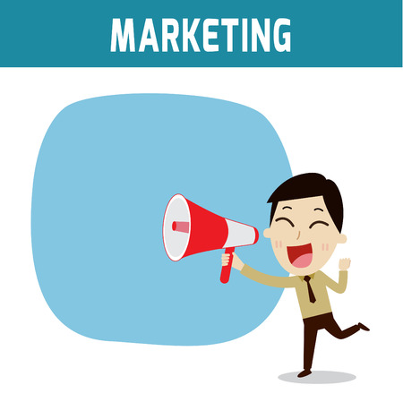 asian businessman: megaphone. asian, european people shouting holding bullhorn .Concept of marketing,businessman or people character.Flat icon modern design style vector illustration concept.