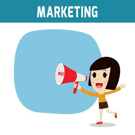 女性実業家: メガホン。アジア、欧州の人々 が持株拡声器を叫んでします。マーケティング、ビジネスの女性または人の文字の概念。フラット アイコン モダンなデザイン スタイル ベクトル図概念。