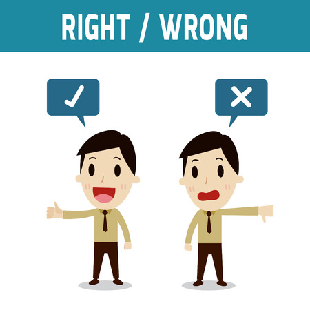 asian businessman: right and wrong.Concept of choose,businessman or asian, european people character.Flat icon modern design style vector illustration concept.